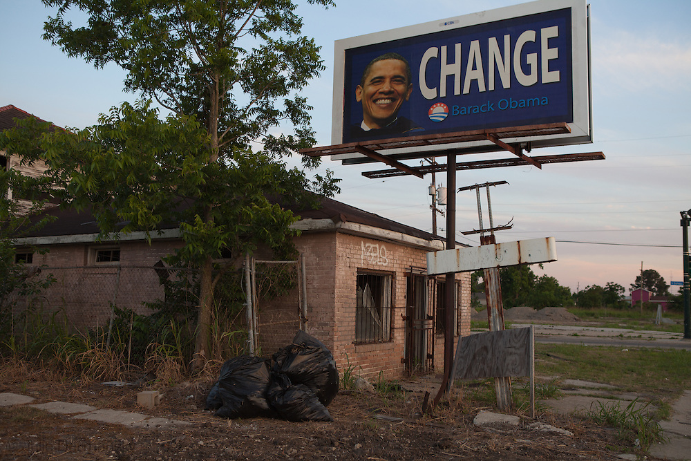 Campaign sign for Obama in the lower 9th Ward of New Orleans