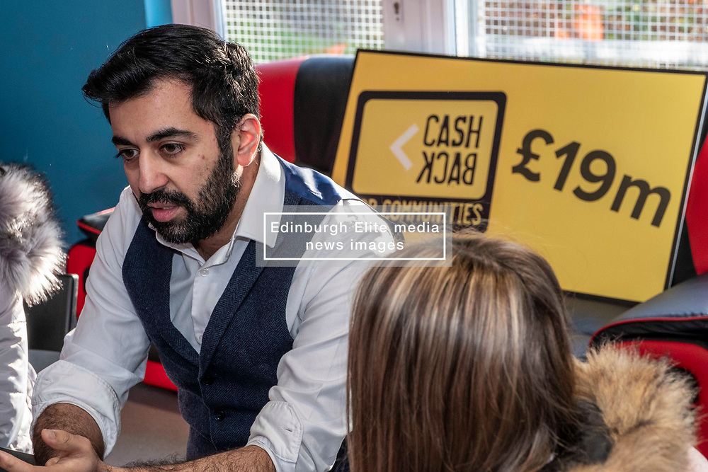 Pictured: Humza Yousaf<br /> <br /> Justice Secretary announces Cashback for Communities<br /> funding. Justice Secretary Humza Yousaf visited Mayfield & Easthouses Youth 2000 Project in Edinburgh and announced the recipients of the latest round of Cashback for Communities funding. Mr Yousaf met with young people involved in the Y2K project - a referral-based service, focusing on early support and prevention for young people involved in or at risk of becoming involved in offending, anti-social and risky behaviours - and took part in a group discussion and art activities<br /> <br /> Ger Harley   EEm 22 January 2020