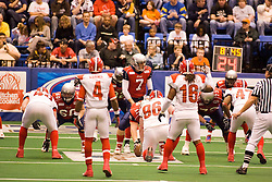 14 March 2009: Mitch Tanney reads the defense before getting under center Luke Wickman. The Sioux Falls Storm were hosted by the Bloomington Extreme in the US Cellular Coliseum in downtown Bloomington Illinois.