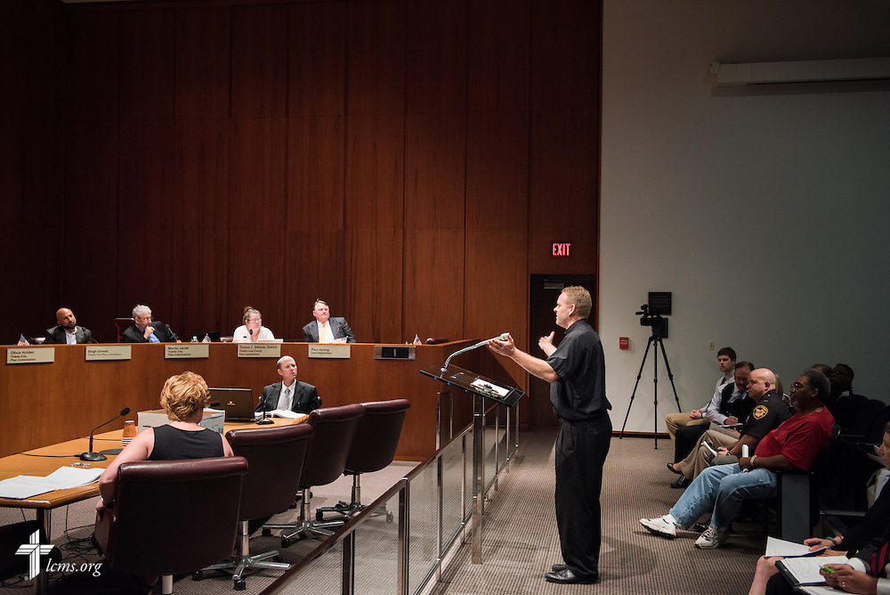 The Rev. Peter M. Burfeind, new domestic missionary and campus pastor at the University of Toledo, speaks during a Toledo-Lucas County Plan Commission meeting on Thursday, July 9, 2015, in Toledo, Ohio. LCMS Communications/Erik M. Lunsford
