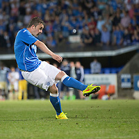 St Johnstone v FC Luzern...24.07.14  Europa League 2nd Round Qualifier<br /> Tam Scobbie scores the winnning penalty<br /> Picture by Graeme Hart.<br /> Copyright Perthshire Picture Agency<br /> Tel: 01738 623350  Mobile: 07990 594431