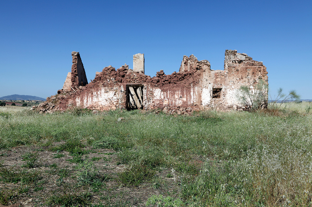 remains of an old farmers house building in a rural setting Spain