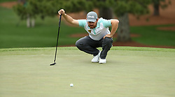 April 7, 2018 - Augusta, GA, USA - Louis Oosthuizen lines up his putt on the 7th green during the third round of the Masters Tournament on Saturday, April 7, 2018, at Augusta National Golf Club in Augusta, Ga. (Credit Image: © Jason Getz/TNS via ZUMA Wire)