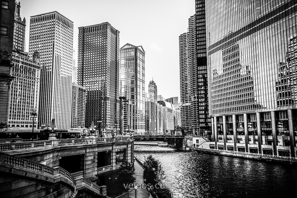 Chicago river buildings black and white picture with the kemper building leo burnett building
