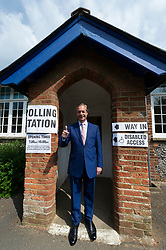 © Licensed to London News Pictures. 23/05/2019. Biggin Hill, UK. Brexit party leader Nigel Farage arrives at a polling station in Biggin HIll to vote in the European Elections. Photo credit: Ray Tang/LNP