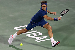 March 1, 2019 - Dubai, United Arab Emirates - ROGER FEDERER of Switzerland returns a shot during the singles semifinal match between Roger Federer of Switzerland and B. Coric of Croatia at the ATP Dubai Duty Free Tennis Championships 2019. Roger Federer won 2-0 to proceed to the final. (Credit Image: © Suhaib Salem/Xinhua via ZUMA Wire)