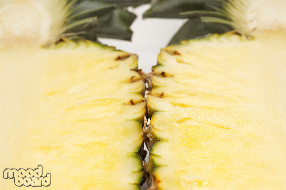 Halved pineapple, close-up