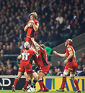 Picture by Andrew Tobin/Focus Images Ltd. 07710 761829. .27/12/11. George Kruis (5) of Saracens wins a lineout held up by Schalk Brits (2) of Saracens during the Aviva Premiership match between Harlequins and Saracens at Twickenham Stadium, London.