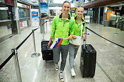 Tina Slejko and Laura Strajnar during arrival of Slovenian team from European Athletics U23 Championships in Tallinn, Estonia, on July 13, 2015 in Airport Joze Pucnik, Brnik,  Slovenia. Photo by Vid Ponikvar / Sportida
