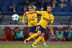 September 12, 2017 - Rome, Italy - Saul Niguez of Atletico and Antoine Griezmann of Atletico during the UEFA Champions League Group C football match between AS Roma and Atletico Madrid on September 12, 2017 at the Olympic stadium in Rome, Italy. (Credit Image: © Matteo Ciambelli/NurPhoto via ZUMA Press)