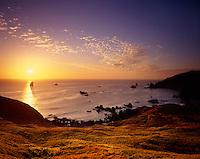 Setting sun from Cape Ferrelo Oregon USA
