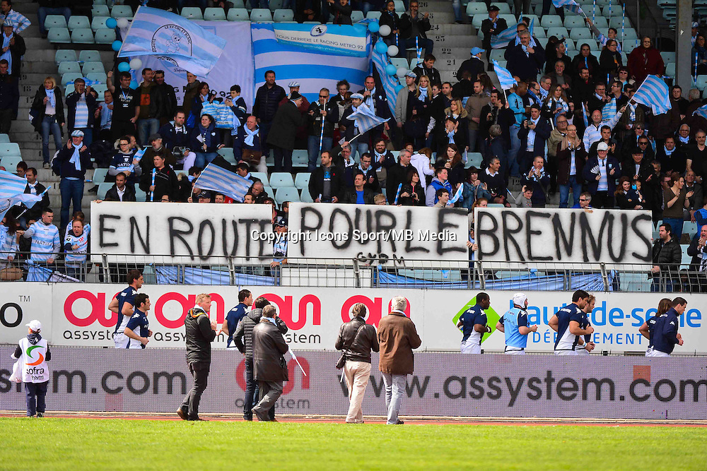 Banderole supporters Racing Metro - 11.04.2015 - Racing Metro / Montpellier  - 22eme journee de Top 14 <br />
