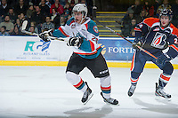 KELOWNA, CANADA - DECEMBER 27: Cole Linaker #26 of the Kelowna Rockets skates on the ice against the  Kamloops Blazers at the Kelowna Rockets on December 27, 2012 at Prospera Place in Kelowna, British Columbia, Canada (Photo by Marissa Baecker/Shoot the Breeze) *** Local Caption ***
