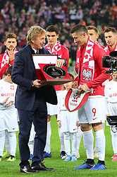 November 15, 2018 - Gdansk, Pomorze, Poland - Zbigniew Boniek gave Robert Lewandowski an award for 100th game for Poland during International Friendly match between Poland and Czech Republic on November 15, 2018 in Gdansk, Poland. (Credit Image: © Mateusz Wlodarczyk/NurPhoto via ZUMA Press)
