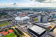 Nederland, Noord-Holland, Amsterdam, 14-06-2012; Amsterdam Zuidoost, Arenagebied met Ziggo Dome, Woonmall, Arena. In de achtergrond Zuidoost, de Bijlmer en het IJmeer..Football stadion Arena of Ajax in Amsterdam-South-east, shopping mall and concert hall Ziggo Dome in this area, residential area Bijlmer and IJmeer in the back..luchtfoto (toeslag), aerial photo (additional fee required).foto/photo Siebe Swart