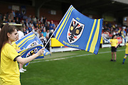 AFC Wimbledon foundation waving flag during the EFL Sky Bet League 1 match between AFC Wimbledon and Oldham Athletic at the Cherry Red Records Stadium, Kingston, England on 21 April 2018. Picture by Matthew Redman.