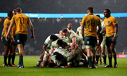 England celebrate Jonathan Joseph of England scoring a try as Australia cut dejected figures - Mandatory by-line: Robbie Stephenson/JMP - 18/11/2017 - RUGBY - Twickenham Stadium - London, England - England v Australia - Old Mutual Wealth Series