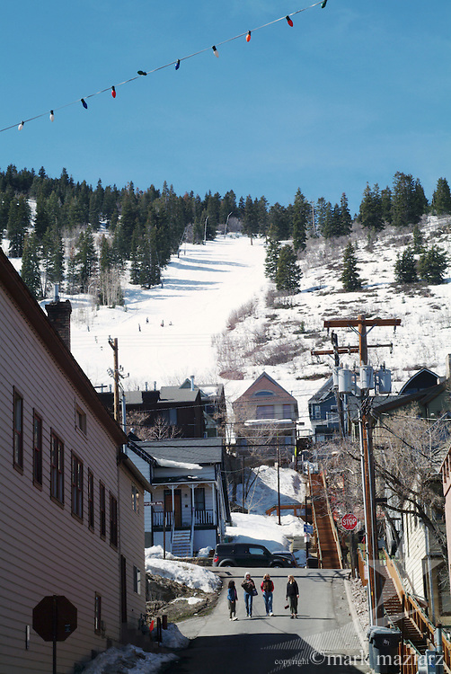 Looking up on Park City Mountain Resort runs off Town Lift chairl from Main Street.