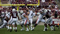 Auburn quarterback Jarrett Stidham (8) passes to Auburn wide receiver Darius Slayton (81) for a big gain against Texas A&M during the fourth quarter of an NCAA college football game on Saturday, Nov. 4, 2017, in College Station, Texas. (AP Photo/Sam Craft)