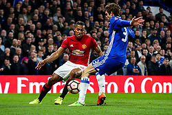 Luis Antonio Valencia of Manchester United is challenged by Marcos Alonso of Chelsea - Rogan Thomson/JMP - 13/03/2017 - FOOTBALL - Stamford Bridge - London, England - Chelsea v Manchester United - FA Cup Quarter Final..