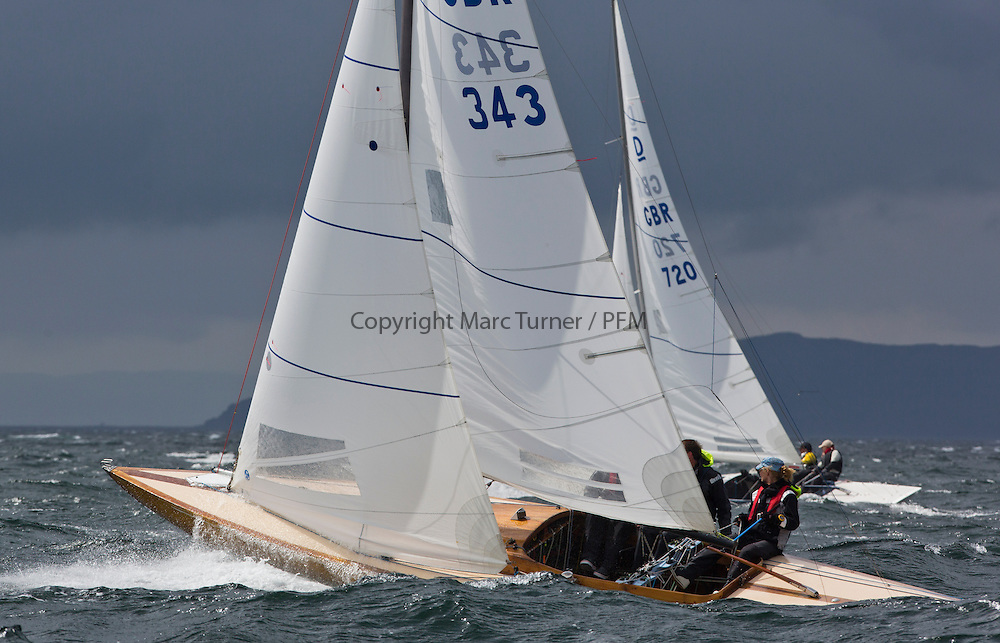 International Dragon Class Edinburgh Cup 2015.<br /> <br /> The first days racing in a strong southerly.<br /> GBR343, WIZZ TOO, Henry Boyd &amp; Helen Horsfall, Royal Forth YC\<br /> <br /> <br /> Credit Marc Turner