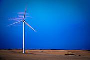 Electricity generating windmill on the Palouse Wheatfields, Columbia County, WA, USA at dusk