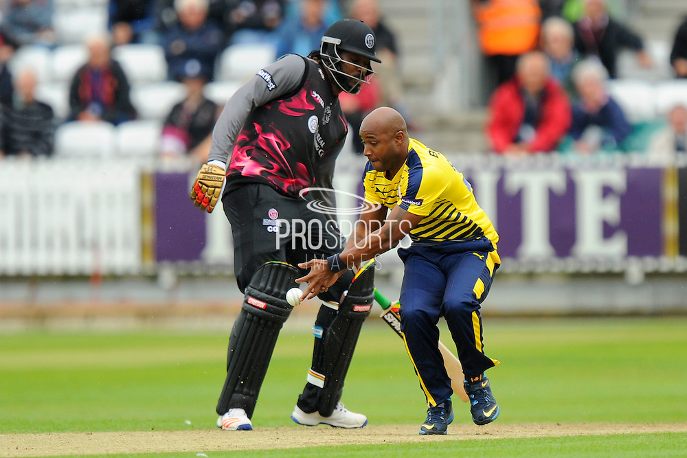 Hampshire's Tino Best crops a catch during the NatWest T20 Blast South Group match between Somerset County Cricket Club and Hampshire County Cricket Club at the Cooper Associates County Ground, Taunton, United Kingdom on 19 June 2016. Photo by Graham Hunt.