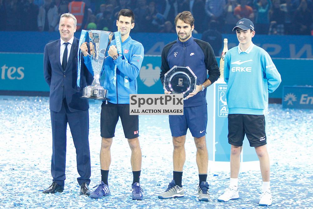 Novak Djokovic and Roger Federer pose for a photo after the ATP World Tour Final match between Novak Djokovic and Roger Federer at the O2 Arena, London 2015.  on November 22, 2015 in London, England. (Credit: SAM TODD | SportPix.org.uk)