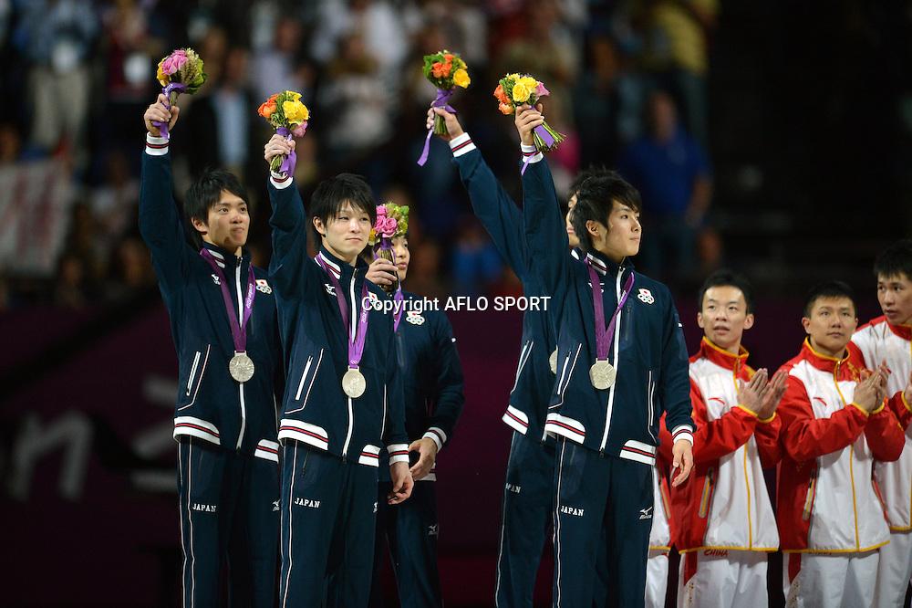 (L to R) Yusuke Tanaka (JPN), Kohei Uchimura (JPN), Koji Yamamuro (JPN), Kazuhito Tanaka (JPN), Ryohei Kato (JPN), JULY 31, 2012 - Artistic Gymnastics : Men's Team Medal Ceremony at North Greenwich Arena during the London 2012 Olympic Games in London, UK. (Photo by Jun Tsukida/AFLO SPORT)
