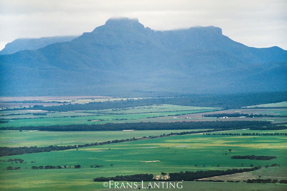 Floristic sanctuary rising above transformed habitat (aerial), Stirling Range National Park, Australia