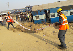 November 20, 2016 - Kanpur: NDRF Rescue officials on the spot where 14 coaches of the Indore-Patna express derailed, killing around 90 people and injuring 150, in Kanpur Dehat on 20-11-2016. photo by prabhat kumar verma (Credit Image: © Prabhat Kumar Verma via ZUMA Wire)