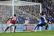 West Ham United forward, on loan from Fenerbahce, Emmanuel Emenike  (29)  misses open goal during the Barclays Premier League match between Leicester City and West Ham United at the King Power Stadium, Leicester, England on 17 April 2016. Photo by Simon Davies.