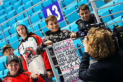 The fans and Blaz Oman, cameraman RTV Slovenia, during ice hockey match between Slovenia and Lithuania at IIHF World Championship DIV. I Group A Kazakhstan 2019, on May 5, 2019 in Barys Arena, Nur-Sultan, Kazakhstan. Photo by Matic Klansek Velej / Sportida