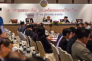 15 DECEMBER 2013 - BANGKOK, THAILAND:  Tongthong Chandrangsu, permanent secretary of the Prime Minister's Office, moderates a forum on political reform in Thailand at the Queen Sirikit National Convention Center. The forum was organized by Thai Prime Minister Yingluck Shinawatra.      PHOTO BY JACK KURTZ