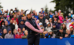 Auchterarder, Scotland, UK. 14 September 2019. Saturday morning Foresomes matches  at 2019 Solheim Cup on Centenary Course at Gleneagles. Pictured; Georgia Hall of Europe tee shot on 10th hole.  Iain Masterton/Alamy Live News