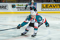 KELOWNA, CANADA - FEBRUARY 7: Dillon Dube #19 of the Kelowna Rockets tries to block a pass by the Vancouver Giants  on February 7, 2018 at Prospera Place in Kelowna, British Columbia, Canada.  (Photo by Marissa Baecker/Shoot the Breeze)  *** Local Caption ***