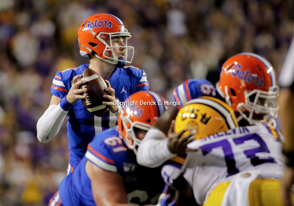 Oct 12, 2019; Baton Rouge, LA, USA; Florida Gators quarterback Kyle Trask (11) looks to throw against the LSU Tigers during the first half at Tiger Stadium. Mandatory Credit: Derick E. Hingle-USA TODAY Sports