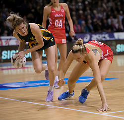 South Africa's Karla Mostert, left, beats England's Joanne Harten to the ball in the Netball Quad Series netball match, ILT Stadium Southland, Invercargill, New Zealand, Sept. 3 2017.  Credit:SNPA / Adam Binns ** NO ARCHIVING**