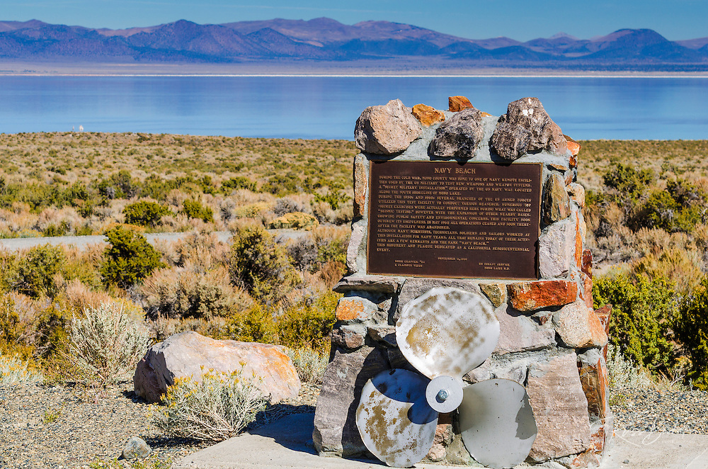 Interpretive plaque at Navy Beach, Mono Lake, Mono Basin National Scenic Area, California USA