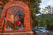 Religious edicola (aedicula votiva) shrine dedicated to the Madonna, Naples, Somma-Vesuviana, on the slopes of Vesuvius volcano, Italy.