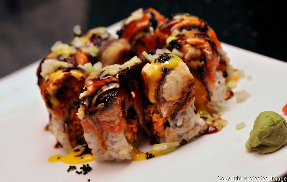 Hillsborough, Tampa, Fl. 2/16/2010-KOTO- Black Jack Roll (spicy crab meat & honey walnuts topped with spicy tuna, eel, cucumber, black caviar and mango eel sauce)  at Koto Japanese Steak House & Asian food Hibachi Sushi Bar in Tampa, Fla. on Tuesday, February 16 , 2010. KOTO 07 OF 7 IMAGES STAFF MICHAEL SPOONEYBARGER