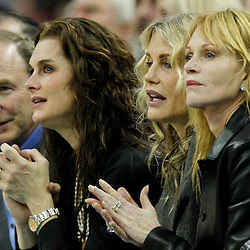 January 23, 2012; New Orleans, LA, USA; Actresses, Brooke Shields, Darryl Hanah and Melanie Griffith watch from courtside during the first quarter of a game between the New Orleans Hornets and the San Antonio Spurs at the New Orleans Arena.   Mandatory Credit: Derick E. Hingle-US PRESSWIRE
