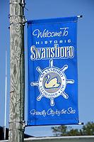 Swansboro town banner along Main Street.
