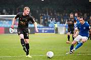 Mansfield Town midfielder Willem Tomlinson pass the ball to team-mate during the EFL Sky Bet League 2 match between Macclesfield Town and Mansfield Town at Moss Rose, Macclesfield, United Kingdom on 16 November 2019.