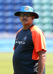 India cricket coach Ravi Shastri during a nets session at The SSE SWALEC, Cardiff.