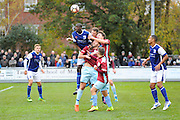 Moussa Diarra (6) of Barrow gets above everyone to head the ball during the The FA Cup match between Taunton Town and Barrow at the Viridor Stadium, Taunton, United Kingdom on 6 November 2016. Photo by Graham Hunt.
