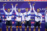 Podium, Men Team Sprint, Netherlands, HOOGLAND Jeffrey, LAVREYSEN Harrie, VAN DEN BERG Roy, VAN T H. N) (Gold medal) during the UEC Track Cycling European Championships Glasgow 2018, at Sir Chris Hoy Velodrome, in Glasgow, Great Britain, Day 2, on August 3, 2018 - Photo Luca Bettini / BettiniPhoto / ProSportsImages / DPPI - Belgium out, Spain out, Italy out, Netherlands out -
