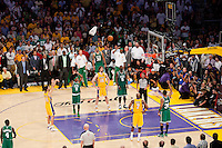 17 June 2010: Guard Sasha Vujacic of the Los Angeles Lakers shoots freethrows agianst the Boston Celtics late during the second half of the Lakers 83-79 championship victory over the Celtics in Game 7 of the NBA Finals at the STAPLES Center in Los Angeles, CA.