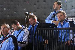 Coach Miro Pozun, Beno Lapajne, Matjaz Mlakar, Dragan Gajic and Rok Praznik at handball match of 5th Round of qualifications for EHF Euro 2010 in Austria between National team of Slovenia vs Bulgaria, on November 30, 2008 in Velenje, Slovenia. (Photo by Vid Ponikvar / Sportida)