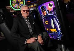 September 25, 2013 - Las Vegas, Nevada, U.S. - Actor Adam West appears at the Aristocrat Technology booth to unveil the Batman slot machine during G2E at the Sands Expo and Convention Center on September 25, 2013. West is the actor who portrayed Batman on the 1960's television series. (Credit Image: © David Becker via ZUMA Wire)